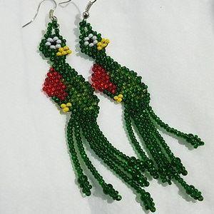 Green red beaded Guatemala quetzal bird earrings